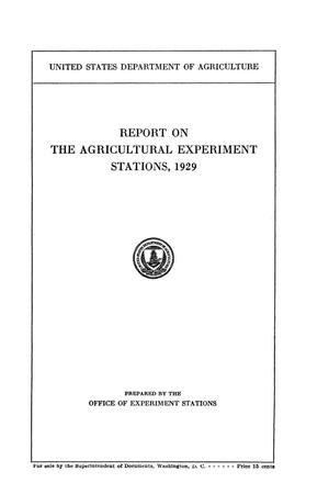 Primary view of object titled 'Report on the Agricultural Experiment Stations, 1929'.