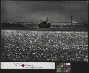 Primary view of object titled '[Large ship on the Detroit River]'.