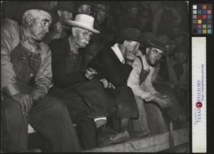 Primary view of object titled '[Four Men at a Cattle Auction]'.