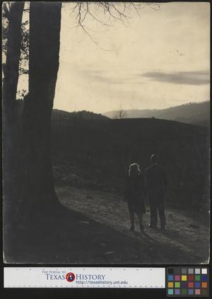 Primary view of object titled '[Man and woman walk towards sunset]'.