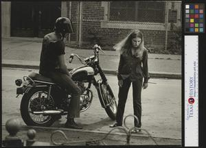 Primary view of object titled '[Man, woman, and motorcycle]'.
