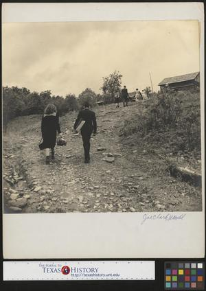 Primary view of object titled '[Bridal party walking to John Brown's home(1)]'.