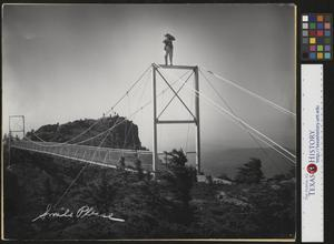 Primary view of object titled '[Photographer on top of a bridge]'.