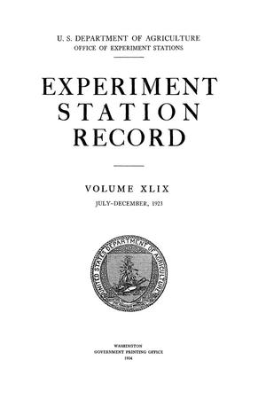 Experiment Station Record, Volume 49, July-December, 1923