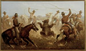 Primary view of object titled 'Cowboys Roping a Bear'.