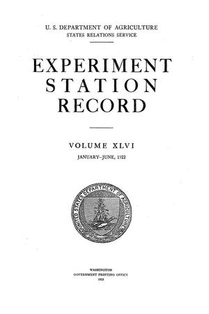 Primary view of object titled 'Experiment Station Record, Volume 46, January-June, 1922'.