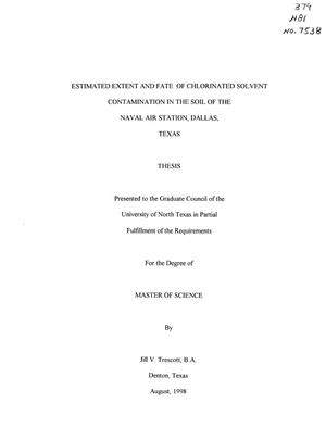 Primary view of object titled 'Estimated Extent and Fate of Chlorinated Solvent Contamination in the Soil of the Naval Air Station, Dallas, Texas'.