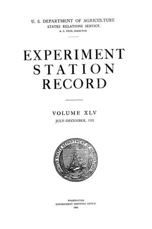 Primary view of object titled 'Experiment Station Record, Volume 45, July-December, 1921'.