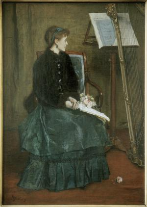 Primary view of object titled 'A Lady and a Harp'.