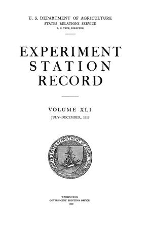 Primary view of object titled 'Experiment Station Record, Volume 41, July-December, 1919'.