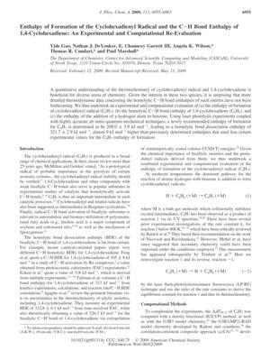 Primary view of object titled 'Enthalpy of Formation of the Cyclohexadienyl Radical and the C-H Bond Enthalpy of 1,4-Cyclohexadiene: An Experimental and Computational Re-Evaluation'.
