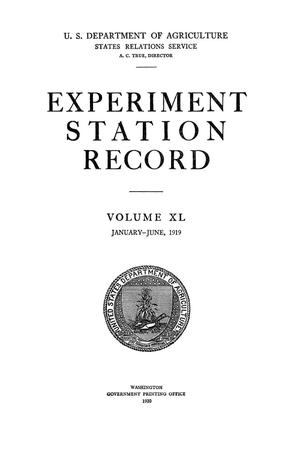 Primary view of object titled 'Experiment Station Record, Volume 40, January-June, 1919'.