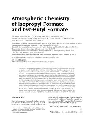 Primary view of object titled 'Atmospheric chemistry of isopropyl formate and tert-butyl formate'.