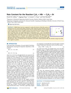 Primary view of object titled 'Rate constant for the reaction C₂H₅ + HBr → C₂H₆ + Br'.