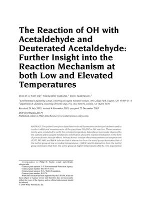 Primary view of object titled 'The reaction of OH with acetaldehyde and deuterated acetaldehyde: Further insight into the reaction mechanism at both low and elevated temperatures'.