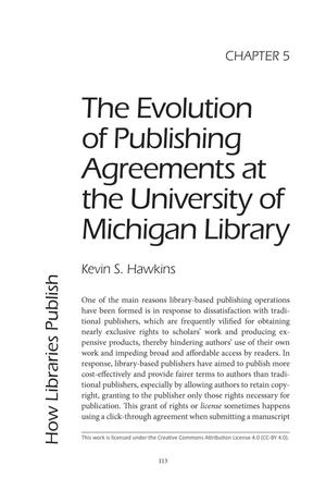 Primary view of object titled 'The Evolution of Publishing Agreements at the University of Michigan Library'.