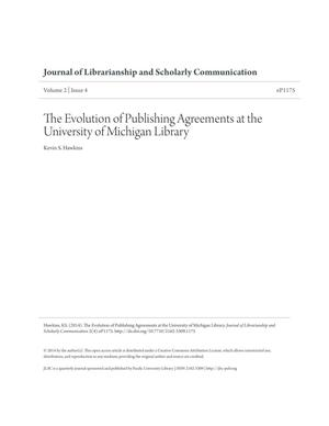 Primary view of object titled 'The Evolution of Publishing Agreements at the University of Michigan'.