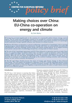 Primary view of object titled 'Making choices over China: EU-China co-operation on energy and climate'.