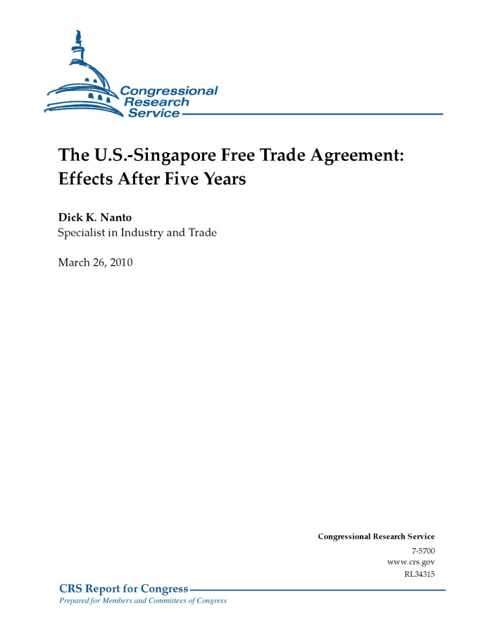 The Us Singapore Free Trade Agreement Effects After Five Years