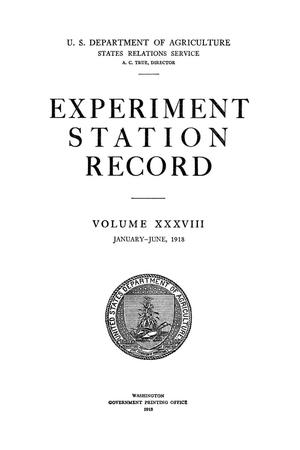 Primary view of object titled 'Experiment Station Record, Volume 38, January-June, 1918'.