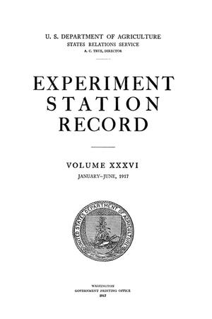Primary view of object titled 'Experiment Station Record, Volume 36, January-June, 1917'.