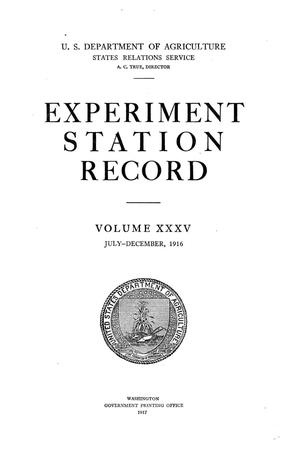 Primary view of object titled 'Experiment Station Record, Volume 35, July-December, 1916'.