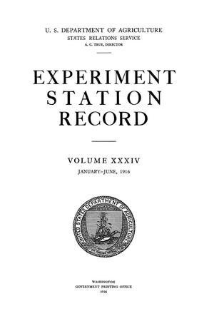 Primary view of object titled 'Experiment Station Record, Volume 34, January-June, 1916'.