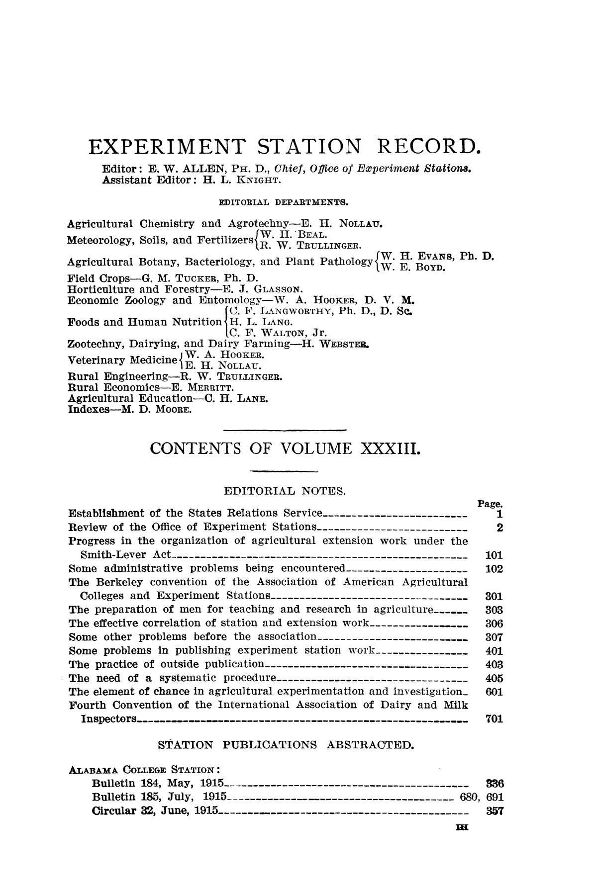 Experiment Station Record, Volume 33, July-December, 1915                                                                                                      III