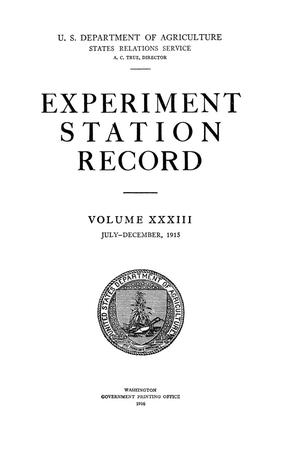 Experiment Station Record, Volume 33, July-December, 1915