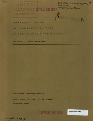 Primary view of object titled 'Preliminary Report on 1952 Investigations in the Colorado Front Range'.