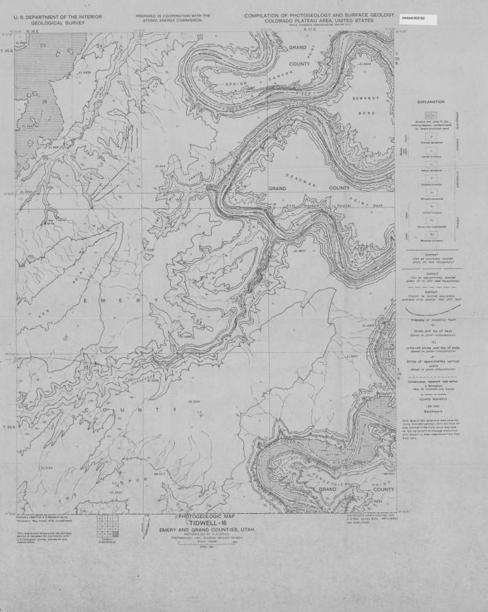 Counties Utah Map.Photogeologic Map Tidwell 16 Quadrangle Emery And Grand Counties