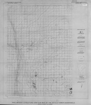 Primary view of object titled 'Preliminary Structure Contour Map of the Devils Tower Quadrangle, Crook County, Wyoming'.