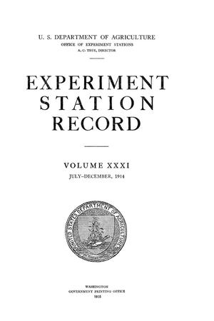 Experiment Station Record, Volume 31, July-December, 1914