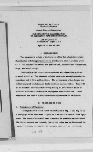 Primary view of Electrostatic Classification of Submicron Airborne Particles : Progress Report, April 15 to June 15, 1961