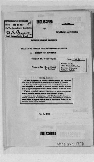 Primary view of object titled 'Jacketing of Uranium for High-Temperture Service'.