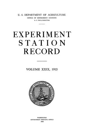 Primary view of object titled 'Experiment Station Record, Volume 29, 1913'.