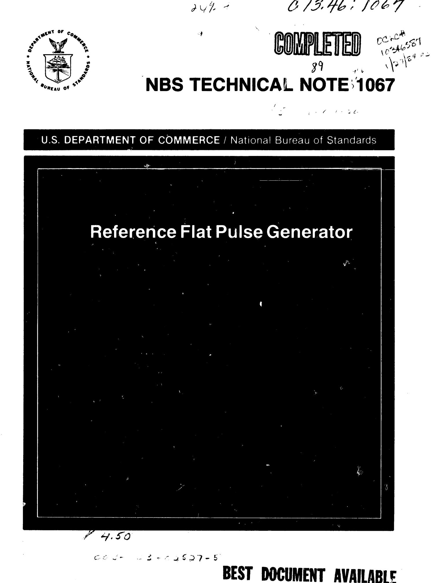 Reference Flat Pulse Generator                                                                                                      Front Cover