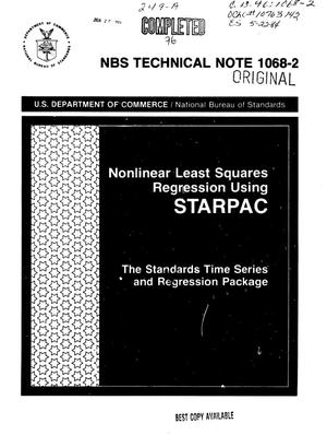 Primary view of object titled 'Nonlinear Least Squares Regression Using STARPAC: The Standards Time Series and Regression Package'.