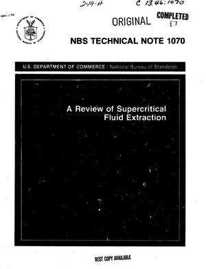 Primary view of object titled 'A Review of Supercritical Fluid Extraction'.