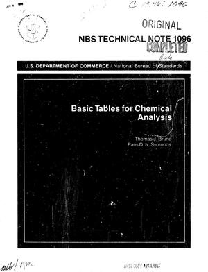 Primary view of object titled 'Basic Tables for Chemical Analysis'.