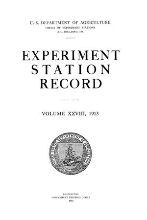 Experiment Station Record, Volume 28, 1913