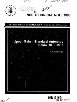 Primary view of object titled 'Linear Gain: Standard Antennas Below 1000 MHz'.
