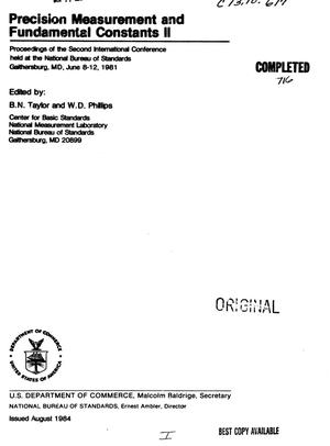 Primary view of object titled 'Proceedings of the Second International Conference on Precision Measurement and Fundamental Constants, June 8-12, 1981'.
