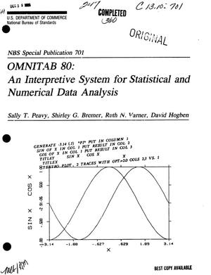 Primary view of object titled 'OMNITAB 80: An Interpretive System for Statistical and Numerical Data Analysis'.