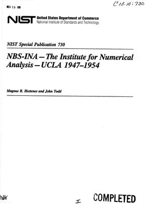 Primary view of object titled 'NBS-INA -- The Institute for Numerical Analysis -- UCLA 1947-1954'.