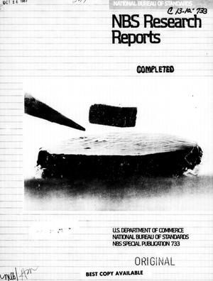 Primary view of object titled 'National Bureau of Standards Research Reports: Summer 1987'.
