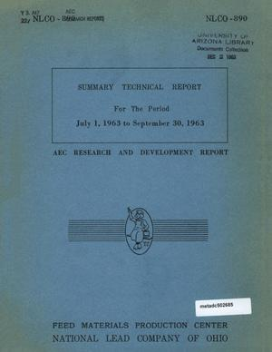 Primary view of object titled 'Feed Materials Production Center Summary Technical Report: July 1, 1963-September 30, 1963'.