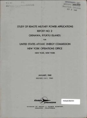 Primary view of object titled 'Study of Remote Military Power Applications: Report 2, Okinawa, Ryukyu Islands'.