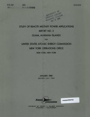 Primary view of object titled 'Study of Remote Military Power Applications: Report 3, Guam, Mariana Islands'.