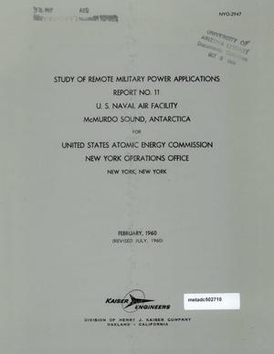 Primary view of object titled 'Study of Remote Military Power Applications: Report 11, U.S. Naval Air Facility, McMurdo Sound, Antarctica'.